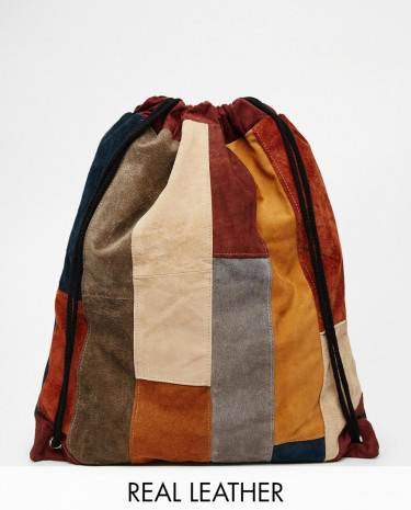 Fashion Shop - Milk It Suede Drawstring Backpack in Patchwork - Tan