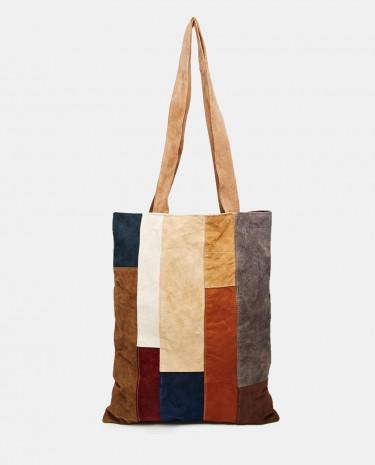 Fashion Shop - Milk It Suede Tote Bag in Patchwork - Multi