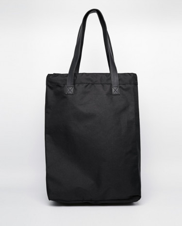 Fashion Shop - Monki Cotton Canvas Large Shoulder bag - Black