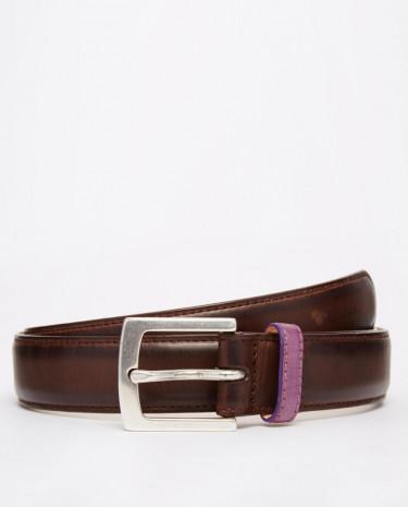 Fashion Shop - Paul Smith Burnished Leather Suit Belt - Brown
