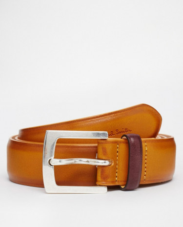 Fashion Shop - Paul Smith Burnished Leather Suit Belt - Tan