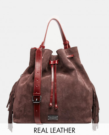 Fashion Shop - Paul's Boutique Cora Leather and Suede Bucket Bag - Burgundy