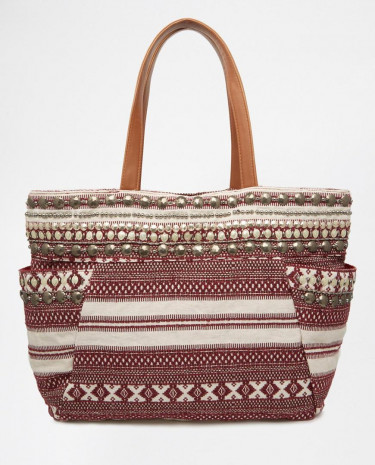 Fashion Shop - Pimkie Aztec Embellished Beach Bag - Multi
