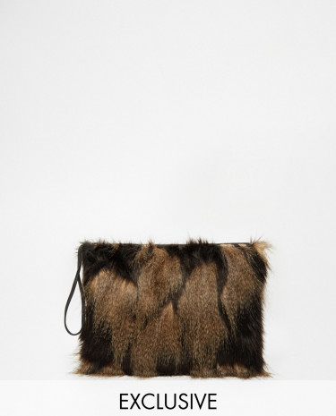 Fashion Shop - Story of Lola Faux Fur Clutch Bag with Feather Contrast - Blackbrown