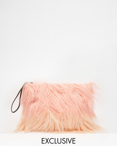 Fashion Shop - Story of Lola Faux Fur Clutch in Pastel Pink Ombre - Multi