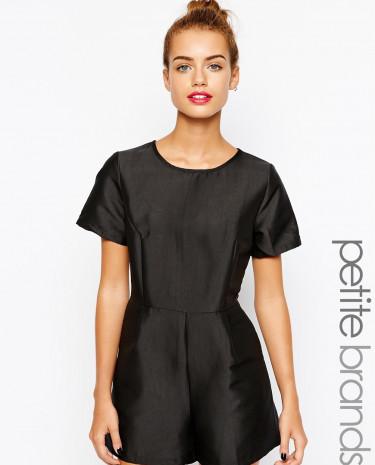 Fashion Shop - True Decadence Petite Tailored Playsuit - Black