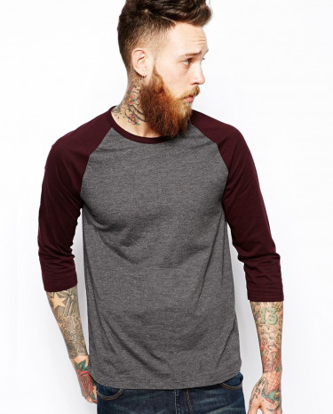 Fashion Shop - ASOS 3/4 Sleeve T-Shirt With Contrast Raglan Sleeves - Charcoalmarlburgun