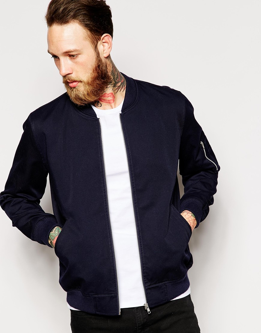 Fashion Shop - ASOS Bomber Jacket In Navy - Navy
