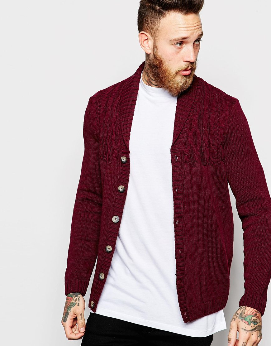 Fashion Shop - ASOS Cable Cardigan With Shawl Neck - Burgundy
