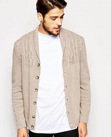 Fashion Shop - ASOS Cable Cardigan With Shawl Neck - Lighttaupe