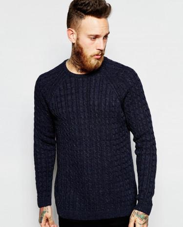 Fashion Shop - ASOS Cable Knit Jumper in Fleck yarn - Navy