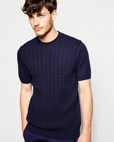 Fashion Shop - ASOS Cable Knitted T-shirt - Navy