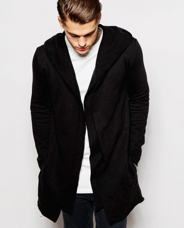 Fashion Shop - ASOS Cardigan In Jersey With Double Layer - Black