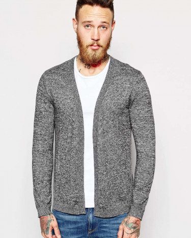 Fashion Shop - ASOS Cardigan in Merino Wool Mix - Greytwist
