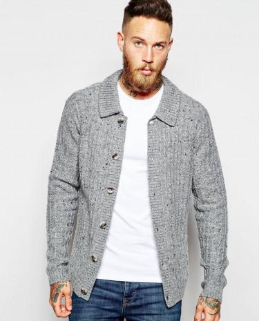 Fashion Shop - ASOS Cardigan with Collar and Ribs - Grey
