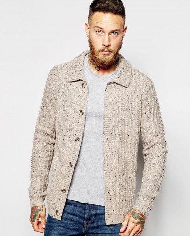 Fashion Shop - ASOS Cardigan with Collar and Ribs - Oatmeal