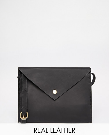 Fashion Shop - ASOS Clean Leather Cross Body Bag - Black