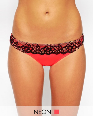 Fashion Shop - ASOS Contrast Lace Brazilian Bikini Brief - Pinkblack