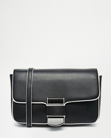 Fashion Shop - ASOS Cross Body With Front Tab Detail - Black