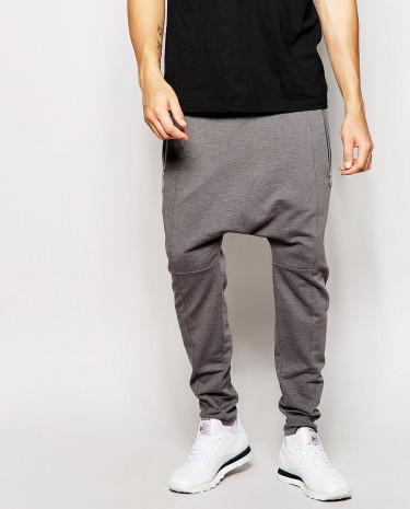 Fashion Shop - ASOS Drop Crotch Joggers With Zip Detail - Charcoalmarl