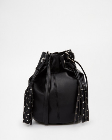 Fashion Shop - ASOS Duffle Cross Body Bag With Stud Tassels - Black