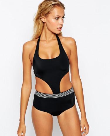 Fashion Shop - ASOS Elastic Trim Cut Out Swimsuit - Black