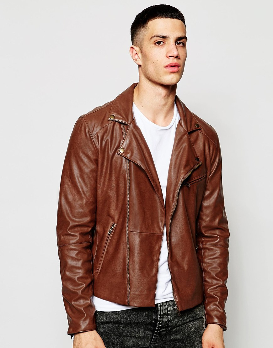 ec007084e ASOS Faux Leather Biker Jacket In Brown - Brown