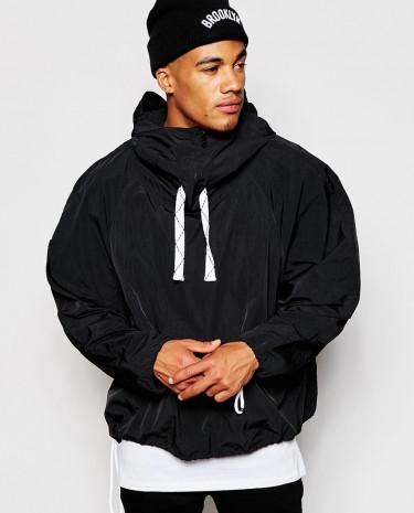 Fashion Shop - ASOS Funnel Neck Overhead Jacket In Black - Black