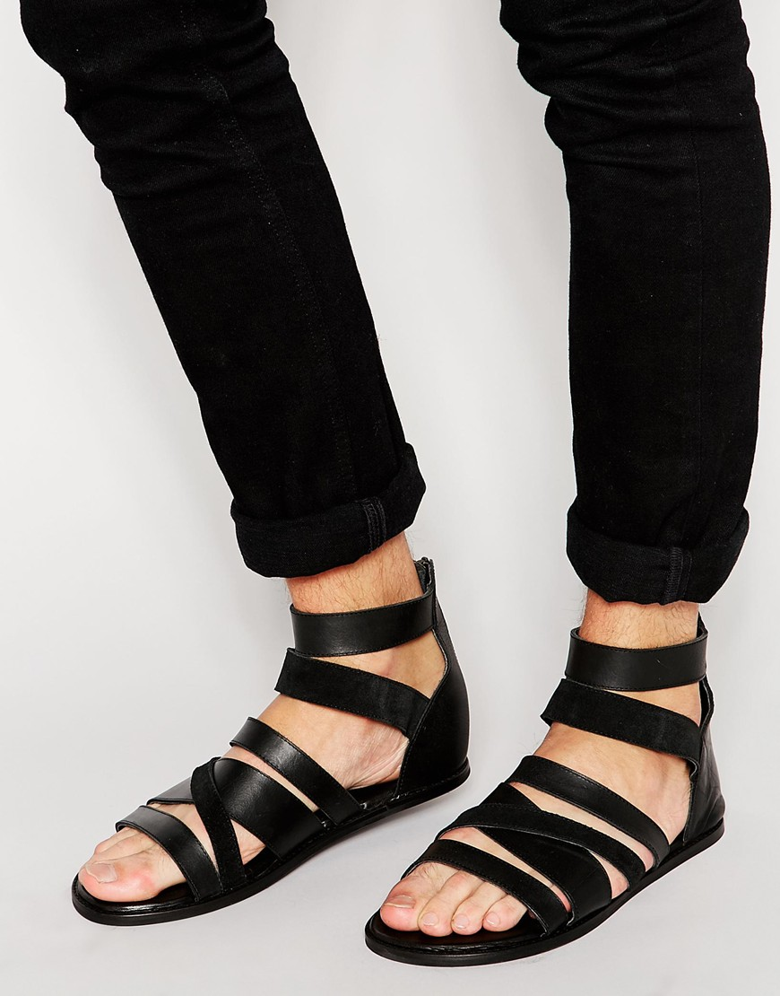 e7aa781fc5d Fashion Shop ASOS Gladiator Sandals in Black Leather - Black Fashion ...