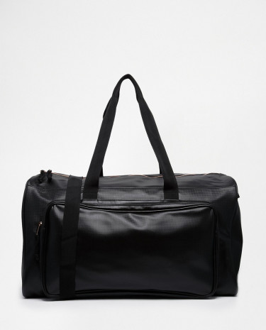 Fashion Shop - ASOS Holdall In Black Emboss With Rose Gold Zips - Black