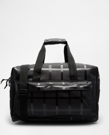 Fashion Shop - ASOS Holdall In Black Grid Print With Rubberised Effect - Black