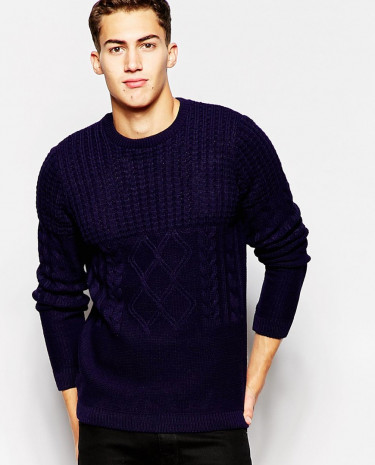 Fashion Shop - ASOS Jumper With Mixed Cable - Navy