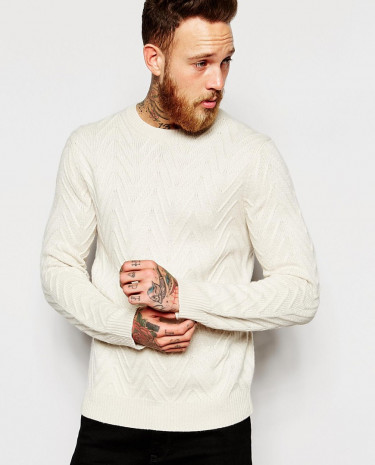 Fashion Shop - ASOS Jumper with Chevrons - Ecru