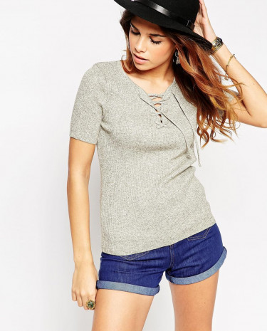 Fashion Shop - ASOS Knitted Tee With Lace Up Neck Detail - Khaki