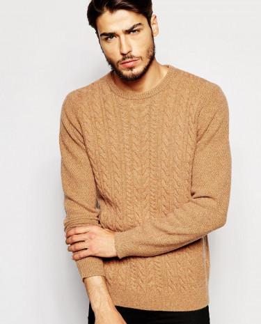 Fashion Shop - ASOS Lambswool Rich Cable Knit Jumper - Camel