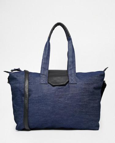 Fashion Shop - ASOS Large Denim Holdall Bag - Blue