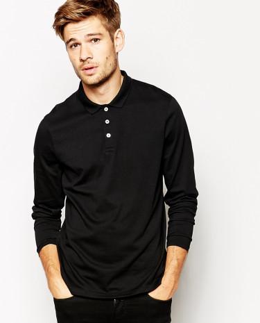 Fashion Shop - ASOS Long Sleeve Polo Shirt In Jersey - Black