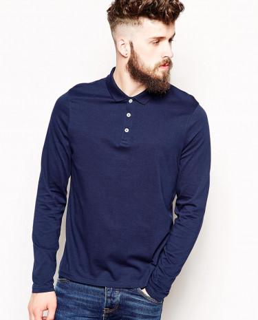 Fashion Shop - ASOS Long Sleeve Polo Shirt In Jersey - Navy