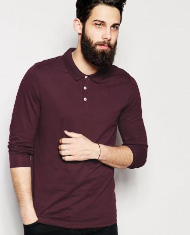 Fashion Shop - ASOS Long Sleeve Polo Shirt In Jersey - Oxblood