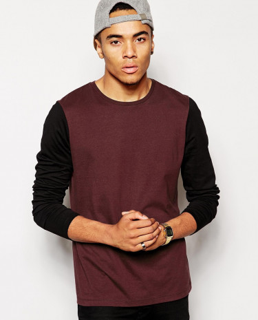 Fashion Shop - ASOS Long Sleeve T-Shirt With Contrast Sleeves - Burgundyblack