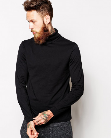 Fashion Shop - ASOS Long Sleeve T-Shirt With Roll Neck - Black