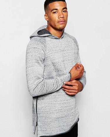 Fashion Shop - ASOS Longline Hoodie In Nepp With Raw Edge & Zip - Grey