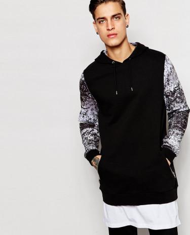 Fashion Shop - ASOS Longline Hoodie With Extended Hem & Printed Scuba Sleeves - Black