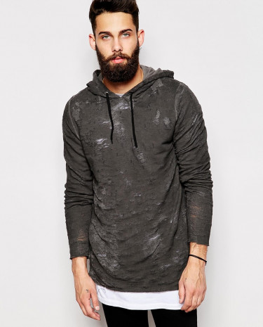 Fashion Shop - ASOS Longline Hoodie With Oil Wash & Distressed Effect - Black