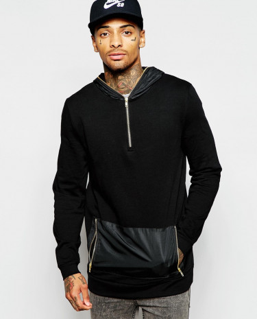 Fashion Shop - ASOS Longline Hoodie With Woven Hood & Pocket and Zips - Black