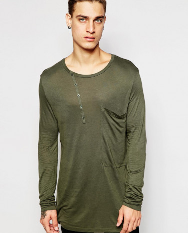 Fashion Shop - ASOS Longline Long Sleeve T-Shirt With Asymmetric Placket - Khaki