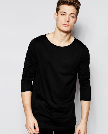 Fashion Shop - ASOS Longline Long Sleeve T-Shirt With Boat Neck - Black