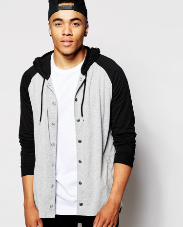 Fashion Shop - ASOS Longline Long Sleeve T-Shirt With Hood And Stepped Hem - Greymarlblack