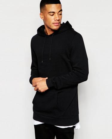 Fashion Shop - ASOS Longline Overhead Hoodie - Black