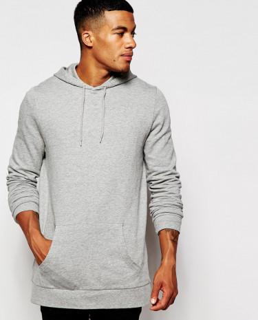 Fashion Shop - ASOS Longline Overhead Hoodie - Greymarl